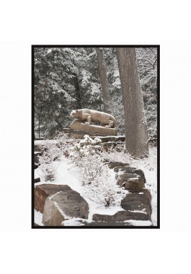 Nittany Lion Shrine in Winter - Wood Sign