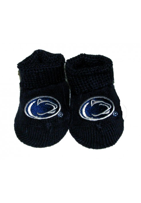 Penn State Logo Infant Booties In Box Navy