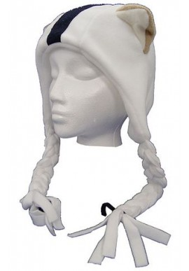Fleece Helmet Hat with Braids